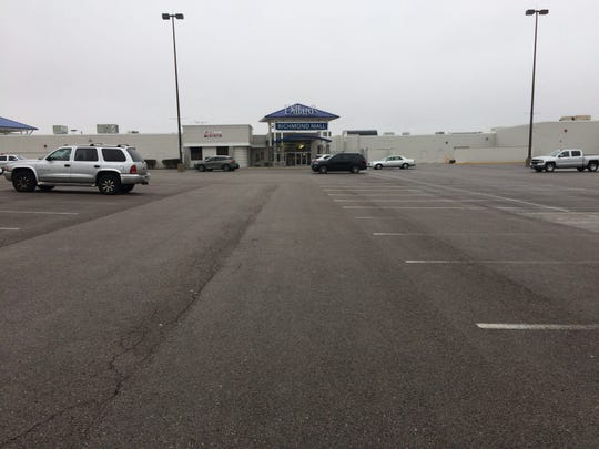 Only a few vehicles were parked Wednesday outside Richmond Mall.