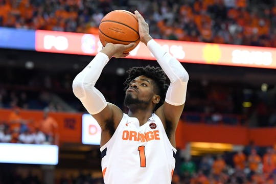 Syracuse forward Quincy Guerrier (1) shoots a free throw against Notre Dame. Guerrier showed some positive signs during his recently completed freshman season.