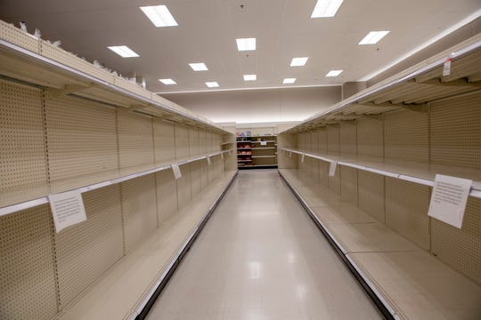 An empty shelf inside Target on Saturday, March 14, 2020.