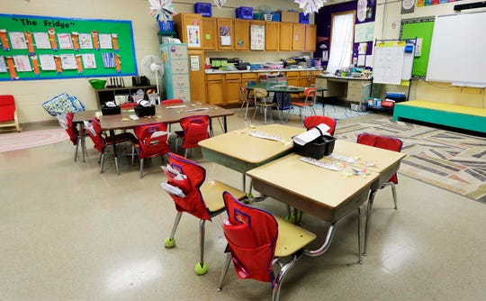 An elementary school classroom in Random Lake is void of students on March 18 due to the coronavirus pandemic.