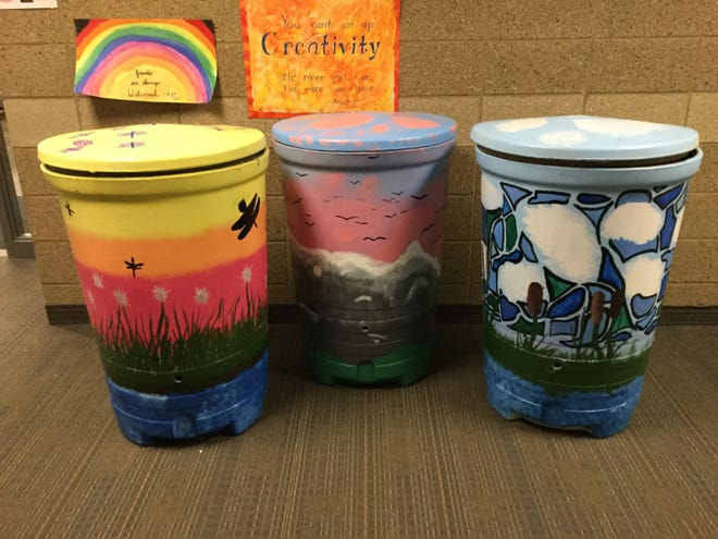 Rain barrels were decorated by 6th grade Art Club students at Brandon Intermediate School 6th Grade Art Club students. The Brandon rebate for using rain barrels is $50.
