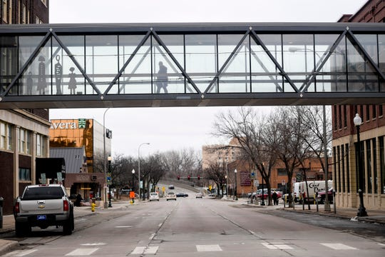 Downtown Sioux Falls sees a decrease in foot traffic due to the coronavirus on Wednesday, March 18, 2020.