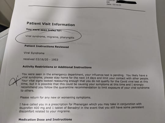The doctor's note from Augusta Health's Emergency Department sent home with Janet Southers where she wasn't able to be tested for COVID-19 due to limited tests.