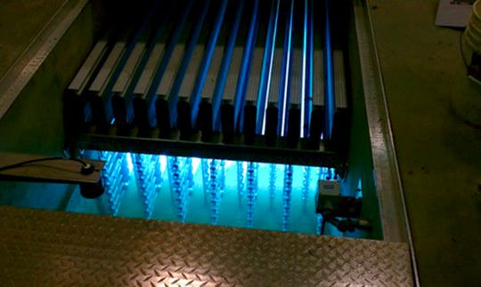 The ultraviolet system is pictured in use at the St. Cloud Wastewater Treatment plant.