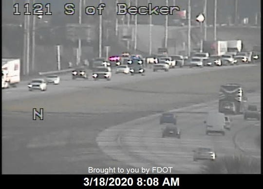 Highway officials reported a crash in the southbound lanes of Interstate 95 south of SW Becker Road outside Port St. Lucie on March 18, 2020 around 7 a.m.