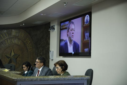 A video on development and El Paso with billionaire Paul Foster plays during the City Council meeting Tuesday.