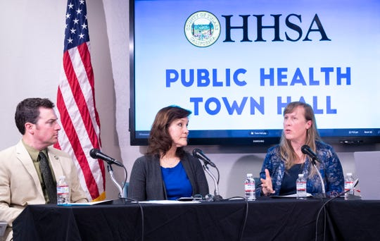 Tulare County with Health and Human Services host a virtual Public Health Town Hall meeting on Tuesday, March 17, 2020 regarding the new coronavirus and COVID-19. Panel members are Supervisor Pete Vander Poel, left, Tulare County Health & Human Services Agency Public Health Director Karen Elliott and Epidemiologist Sharon Minnick. They also announced a fourth case of COVID-19 in the county.