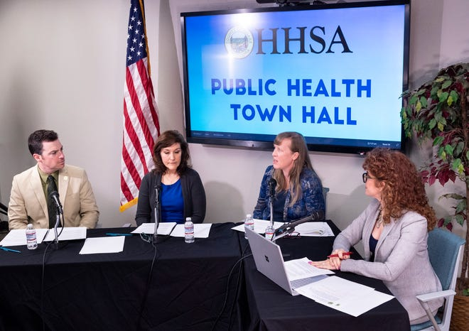 Tulare County with Health and Human Services host a virtual Public Health Town Hall meeting on Tuesday, March 17, 2020 regarding the new coronavirus and COVID-19. Panel members are Supervisor Pete Vander Poel, left, Tulare County Health & Human Services Agency Public Health Director Karen Elliott, Epidemiologist Sharon Minnick and Public Information Officer Tammie Weyker-Adkins. They also announced a fourth case of COVID-19 in the county.
