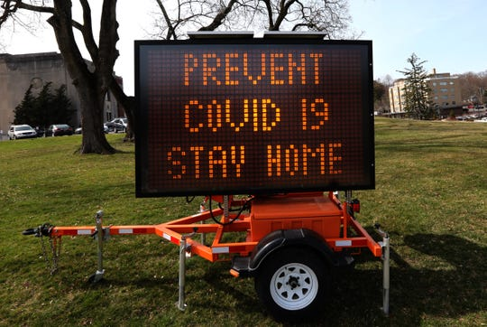 Electronic message sign in front of the Rockland County Courthouse in New City gives advice on fighting the COVID-19 coronavirus March 18, 2020.