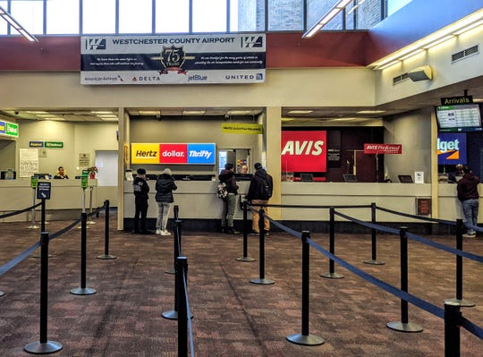 There were no lines for service at the rental car desk on March 18, 2020 at Westchester County Airport.