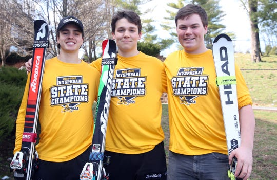 From left, Mamaroneck's Cole Lovejoy, Robby Lundberg and Charlie Roseberry are the Journal News Westchester/Putnam boys skier of the year  March 13, 2020.