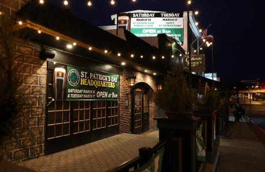 "Catherine Rooney's and the rest of the bars and restaurants of Trolley Square in Wilmington is quiet on St. Patrick's Day, a holiday the owners of the nearby Kelly's Logan House called the ""biggest day of the year."""