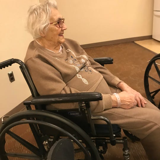 Marie Maxwell, 97, lives at the Kentmere Nursing Care Center on Lovering Avenue in Wilmington. Her family can't visit due to the coronavirus pandemic.