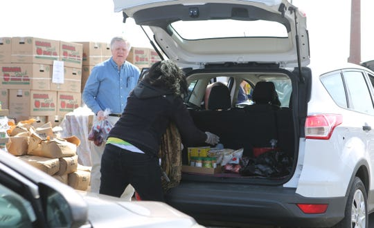 The Food Bank of Delaware gave away food Wednesday to help families experiencing food shortages due to the coronavirus pandemic.  Many were turned away due to lack of supply and traffic concerns.