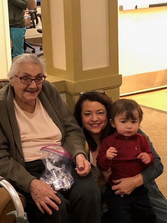 Marie Maxwell, 97, with granddaughter Meta Marie Caserta and great great grandson AJ DiNardo.