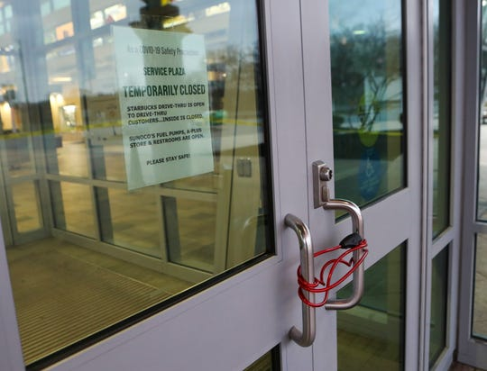 The doors of the Biden Welcome Center are locked after the main building of the I-95 rest area was shuttered Tuesday.