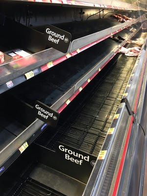 Consumers are finding emtpy shelves, including in the meat section, when shopping as COVID-19 paralyzes much of the country but beef farmers are hard at work to keep product moving to grocery stores.