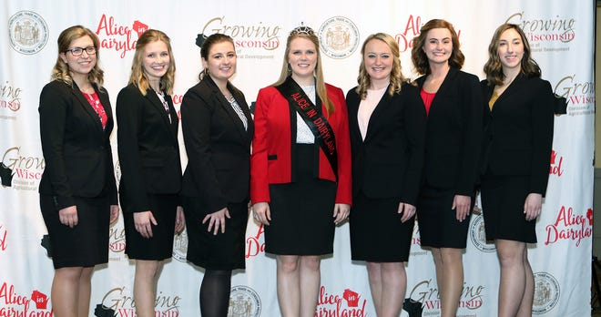 Abigail Martin poses with the top six candidates for the 73rd Alice in Dairyland on March 14 at Lake Lawn Resort. Pictured, from left, are Rachel Gerbitz, Erica Helmer, Stephanie Hoff, Martin, Kaitlin Konder, Julia Nunes and Grace Schroeder.