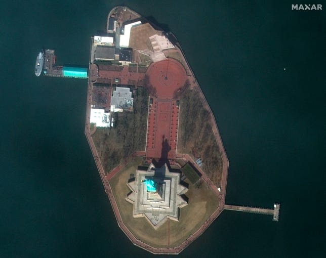 An aerial view of the Statue of Liberty in New York seen in this March 11, 2020 satellite image.