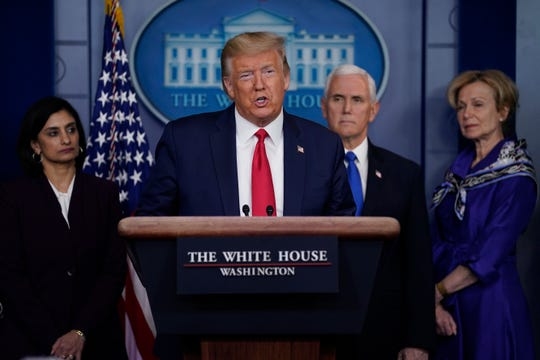 President Donald Trump speaks during press briefing with the Coronavirus Task Force, at the White House, Wednesday, March 18, 2020, in Washington.