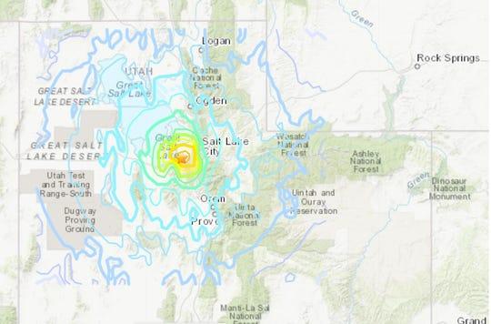 A magnitude 5.7 earthquake hit near Salt Lake City, Utah, on Wednesday, March 18, 2020.