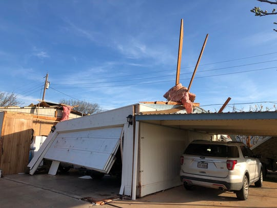 """The residence of William """"J.R."""" Brock sustained damaged after a tornado hit Tye west of Abilene about 1:30 a.m. Thursday, March 19, 2020."""