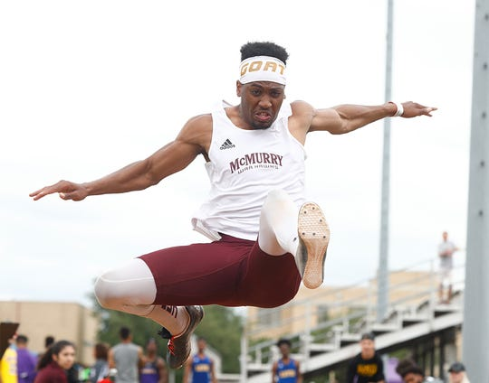 McMurry's Sean Germany completes during the 2019 War Hawk Classic at Wilford Moore Stadium. Germany placed third at the 2019 outdoor national championships after finishing sixth at the indoor nationals. He took the No. 2 distance into this year's NCAA Division III Indoor National Championships before they were canceled.