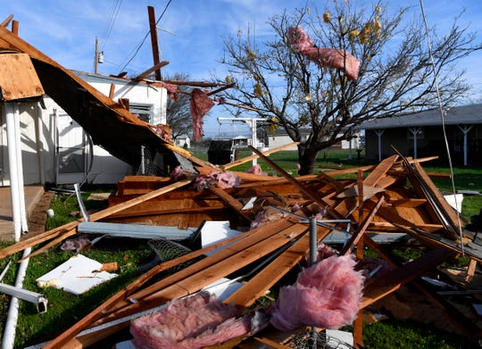The remains of the Brock family's roof in Tye on March 19. The family was able to make it to their storm shelter before the tornado hit near the north end of Dyess Air Force Base.