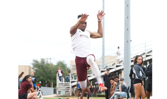 McMurry's Sean Germany competes at the 2019 War Hawk Classic at Wilford Moore Stadium. Germany was at the NCAA Division III Outdoor National Championship when the event was canceled due to COVID-19. He had the second-best triple jump distance in the country.