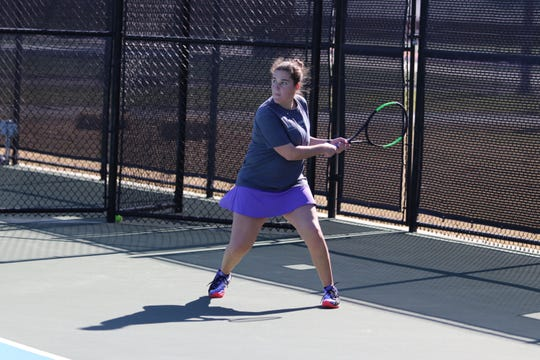 Hardin-Simmons tennis player Abigail Kendall competes during a match earlier this season.