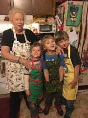 Mary Phillips, 82, with her great-grandchildren