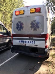 A Bremerton Ambulance carrying a patient near Poulsbo was struck from behind Thursday.