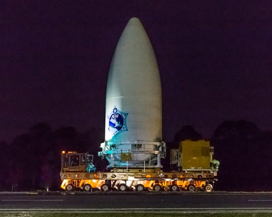 ULA transports the encapsulated AEHF-6 satellite to be mated to the Atlas V rocket at the Vertical Integration Facility at Cape Canaveral Air Force Station in preparation for launch.
