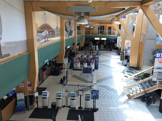An aerial view of the nearly empty terminal at Burlington International Airport on Wednesday, March 18, 2020.