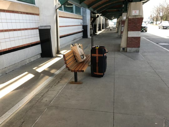 Lonely luggage left by a traveler at Burlington International Airport on Wednesday, March 18, 2020.