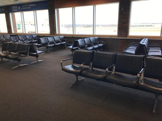 There was plenty of room in the flight lounge at Burlington International Airport on Wednesday, March 18, 2020.