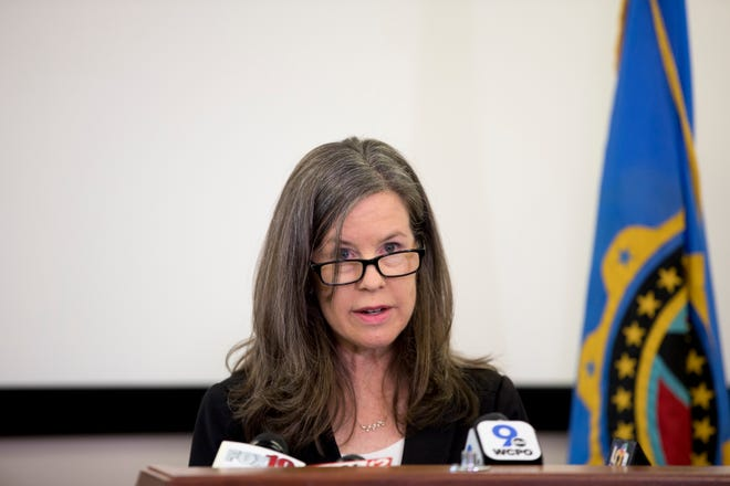 Hamilton County Commission President Denise Driehaus speaks during a press conference on Thursday, March 19, 2020, in at the Hamilton County Health Department office in Corryville announcing the first case of someone in Hamilton County testing positive for new coronavirus.