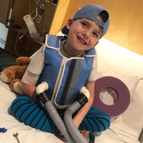 Six-year-old Joseph Bostain smiles during his stay in January 2020 at  Vanderbilt University Medical Center for cystic fibrosis treatment.