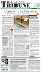 The March 17, 2020, Harlan Tribune front page is devoted to COVID-19 news.