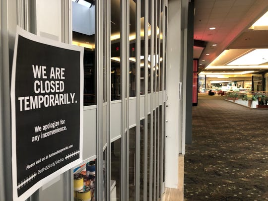 The Bath & Body Works at the Valley West Mall is temporarily closed Thursday, March 19, 2020.