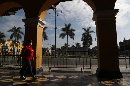 An empty Plaza de Armas de Lima in downtown Lima, Peru, is one of the many sobering sights Americans are seeing while stranded in Peru amid the coronavirus pandemic. Numerous Iowans are among the hundreds stuck in Peru.