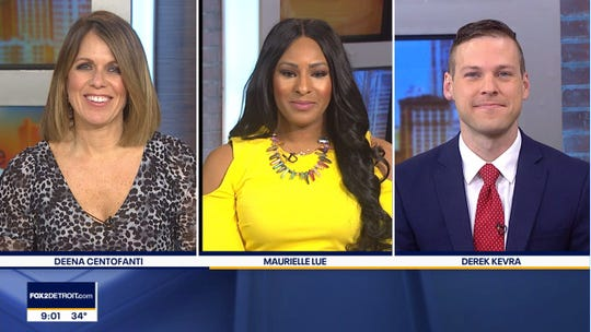 "At ""The Nine"" Fox 2 Detroit morning show,  Deena Centofanti, Maurielle Lue and Derek Kevra normally would be sitting side-by-side on a couch. Here's an image of them using social distancing to interact electronically instead."