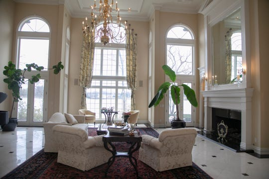 Grand living room in this 23 room lake-front estate in Orchard Lake features 7 bedroom suites and regal two story foyer. The house, that was photographed Wednesday, March, 18, 2020 has front property that extends to the Orchard Lake Country Club's golf course.