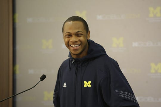 Michigan wide receiver Roy Roundtree at the podium talking to the media on Monday, October 4, 2010, in Ann Arbor.