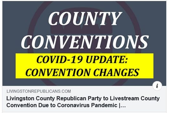A Facebook post from the Livingston County Republican Party notifies people of changes to the upcoming county convention because of concerns about the coronavirus.