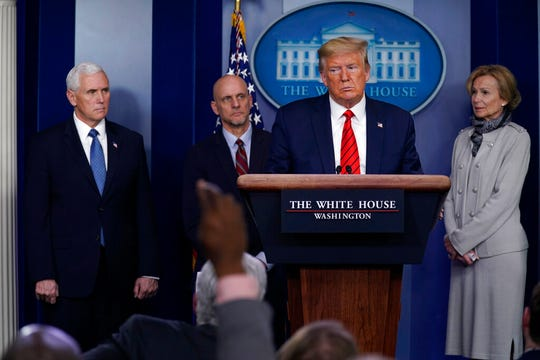 President Donald Trump takes questions during press briefing with the coronavirus task force, at the White House, Thursday, March 19, 2020, in Washington.