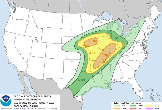 "The Ohio Valley is in an ""enhanced"" risk area for severe weather on Thursday."