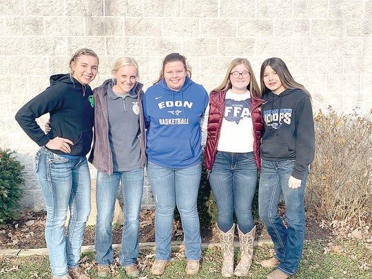 General Livestock Judging contest participants, from left: Paige Briner, Sydney Bignell, McKenna Hickman, Emma Howard, and Kendall Sheline.