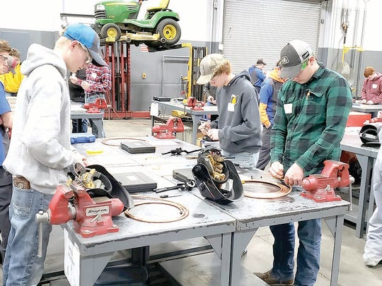 District Ag Mechanic Skills contest participants, from left: Connor Towers, Wade Parrish, and Lane Reitzel.