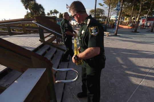 The beaches and parks on Fort Myers Beach including the pier are closed due to the coronavirus pandemic that is sweeping the globe and nation. Restaurants and Times Square will remain open. Lee County and city officials declared Spring Break over.